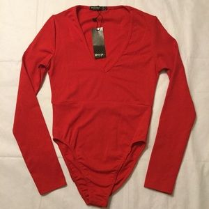 Nasty Gal red plunge neck bodysuit NWT